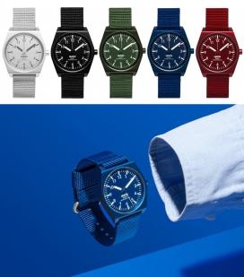 军事功能手表-瑞士游戏设计工作室Big-Game第一款腕表作品,现已有五种颜色在Dezeen手表商店出售。配备平面几何线条与大胆易于阅读的脸和对比数字标记,铝制外壳尼龙表带也吸引了来自令人惊讶和怀旧感,提供红色,绿色,蓝色,黑色和灰色,并提供带免费全球航运
