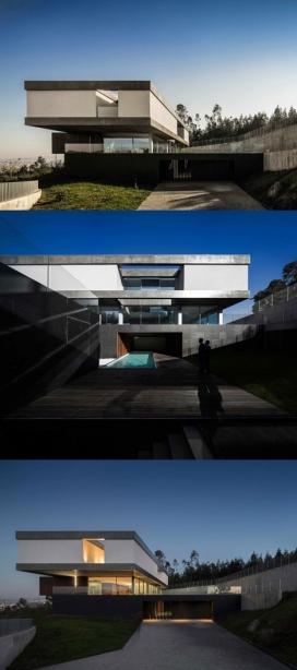 悬臂透明层建筑-位于葡萄牙,里面住着一个年轻的家庭,从卧室到服务区,都有分开公共生活空间