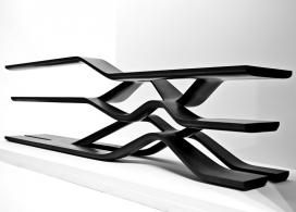 意大利CITCO悬臂式黑色花岗岩书架-创造出流体存储单元,是一个有趣的二分法货架系统,三个层次看起来像一个波浪线