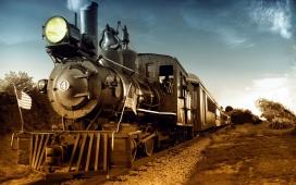 回到过去-老式复古蒸汽机火车壁纸