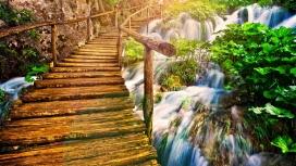 瀑布木桥壁纸