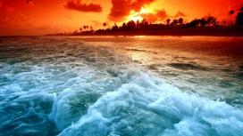 晚汐-海洋海滩潮水壁纸