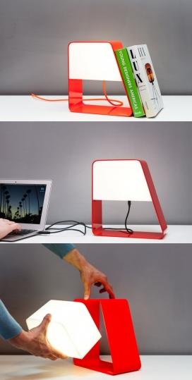 Ludovica-LED补光灯-一个完美紧凑型灯-意大利都灵Zanocchi & Starke设计师作品,光线是由两部分组成,一个铝制框架和一个可移动的照明元素,当你需要给电池充电,有一个USB连接线,一次充电可以用4个小时