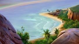 天堂海滩漫画壁纸