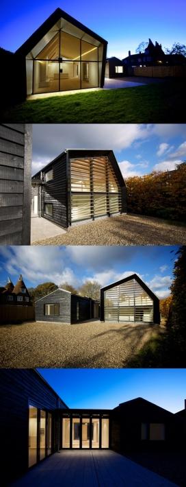 谷仓屋-木制百叶窗玻璃墙房屋,里面住着一对退休年龄夫妇,采用了农村乡土美学设计
