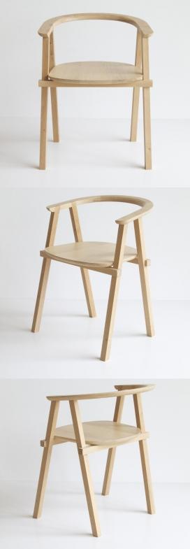 一个简约的木质修长椅子设计-荷兰Oato设计师作品