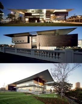 澳大利亚昆士兰现代美术馆建筑设计-一个轻量级的,开放的水榭展览空间,分两大层面,有两个电影院,教育设施,餐厅和商店咖啡馆