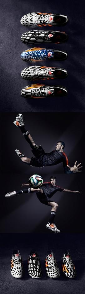 Adidas阿迪达斯为2014巴西世界杯足球运动员设计的球鞋-颜色灵感来自不同文化背景本土勇士部落战争图案