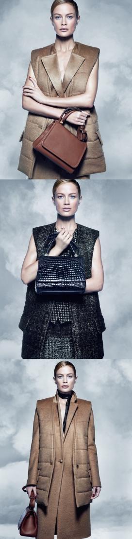 卡洛琳墨菲-华丽淑女2014秋季包包时装战役-雅诗兰黛结合意大利品牌的围巾,组成一个大家闺秀手袋时尚秀