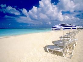 假日海滩躺椅美景
