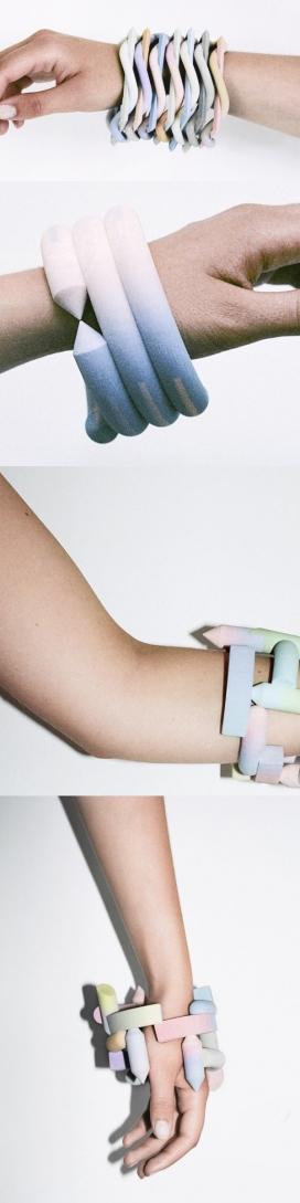 柔和的糖果色梯度手镯-粉笔形状的三维印刷彩色石膏,基本上意味着心灵雕塑你的手腕