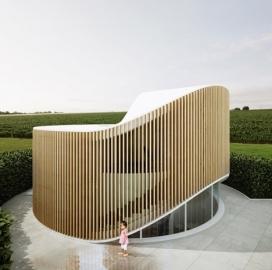"""树桩形""""竖琴""""房屋设计-里面住着设计师本人,是设计师的家,也是一个工作区,适合他的日常生活"""