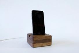 Android设备微型USB电缆木质手机充电基座设计