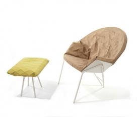 三维几何折叠印花织物椅子