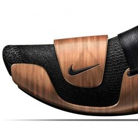 耐克弧形板概念运动鞋设计-法国设计师Ora-Ïto作品-灵感来自木扶手椅,鞋由两层组成,底座上有深色木制面板,鞋帮后踵采用橡胶胶合板