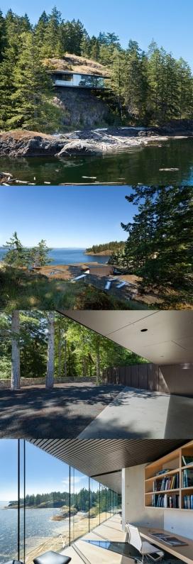 露头悬臂屋-建筑位于加拿大,建立在峭壁上,场地的地形是非常不规则的,房屋离地面有13米以上,周围是风景壮观的,后面有森林,里面住着一对已婚夫妇,房屋里面有丰富多彩的设置,让人想起世外桃源
