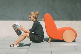 休闲椅-灵感来自户外独轮车的启发,结合了现代曲线玲珑形式