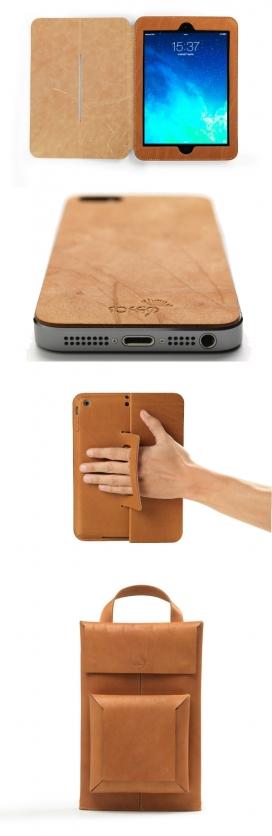 意大利SOFFIO品牌出品-智能手机平板电脑新皮革套科技产品,小扭曲线条,每一块都是自然老化的皮革手工制作。 还有一个可调节肩带的单肩包皮套,非常适合外出携带