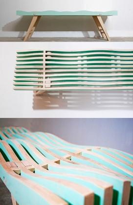 一个弯曲波浪曲线条纹的板凳-更符合人体工程学和好玩