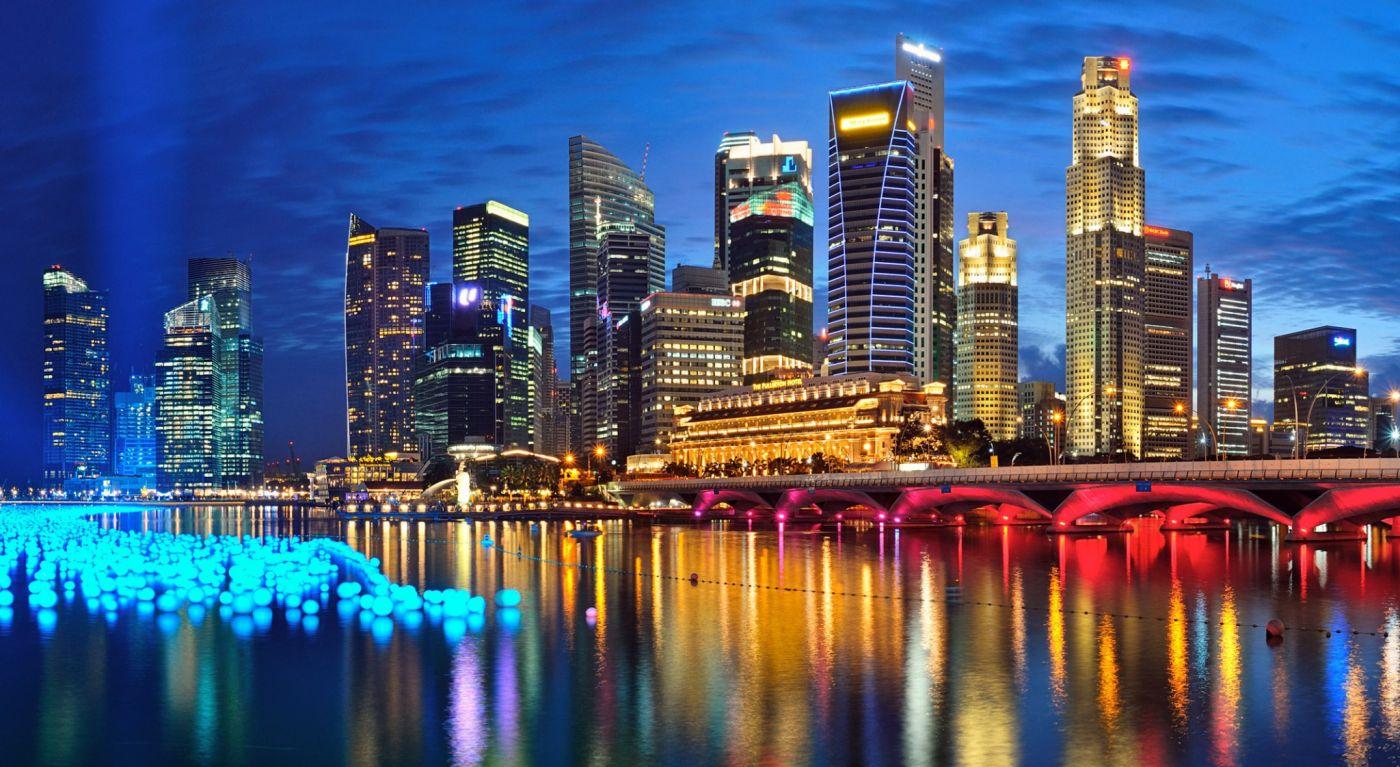 新加坡海滨湾夜景城市壁纸 欧莱凯设计网
