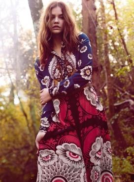 芭芭拉・帕尔文-VOGUE时尚英国2015年3月-一个迷幻嬉皮抛光的版本,精致时尚的舞蹈与大自然结合
