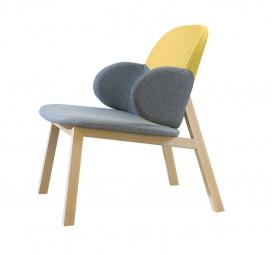 舒适快乐的椅子-像一个温柔的拥抱,椅子的倾斜,后座与两个侧板提供额外的支持,用泡沫覆盖,采用成型木材