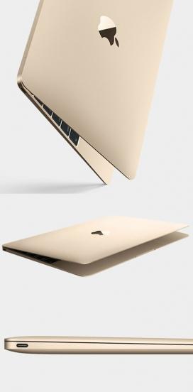 苹果最薄最轻的黄金装饰MacBook笔记本设计-重量只有两磅,13.1毫米厚,比目前最薄的设计更薄,磨碎的铝合金外壳,颜色有金色和灰色空间以及典型的银色。乔纳森・伊夫设计