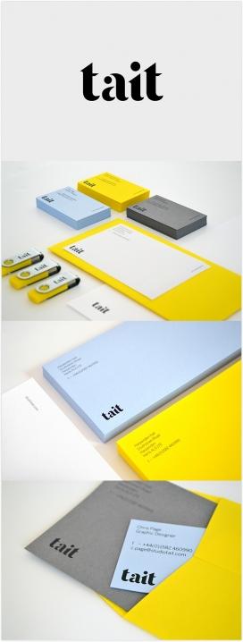 Tait-演播室品牌设计-一个新的身份,自信地反映了品牌愿景和抱负-名片采用铝箔封锁创造了鲜明的对比质感