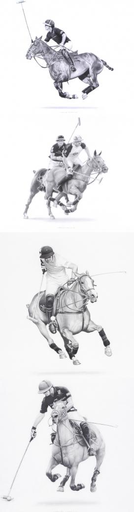 Polo Players-手绘骑士打高尔夫球插画设计