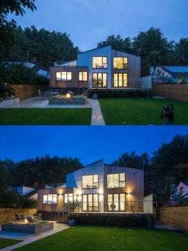改建于一战后的木结构建筑平房-位于英国,是一个全新环保的家。房子的主体结构是在两个不同材料中合并,一个是渲染一个是落叶松,创造不同质感的层次。后部甲板可以通过两套玻璃门连接到厨房,餐厅,和L形的起居室。