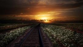 日落下的铁路壁纸