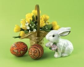 复活节礼品-竹编篮子彩蛋与兔