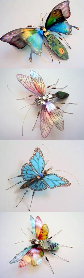 废旧电路板制作的精美昆虫-英国艺术家朱莉爱丽丝查普尔作品-废弃电路板到昆虫的微型雕塑,致力于提高人们对环境的浪费,文化垃圾的回收。