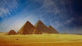 高清晰蓝天白云下埃及开罗金字塔壁纸