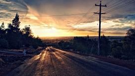 日落路风景