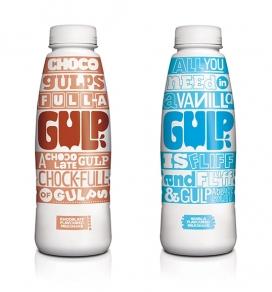Gulp饮奶昔包装设计-有香草,巧克力,草莓和香蕉口味
