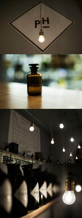 布达佩斯Bar Pharma鸡尾酒酒吧制药内饰及标识设计-肉豆蔻,香草,木瓜都是由手工绘制