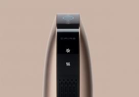BLOW空气净化器设计-具有空调节能加热器功能,由两个垂直排列的圆筒形风扇组成,带静音功能