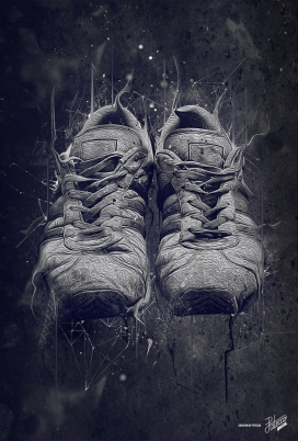 暗黑系列-运动复古鞋插画