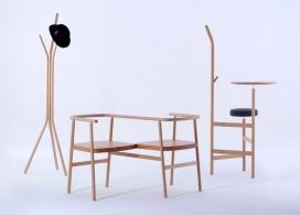 芝加哥新保守主义木质传统简洁办公家具设计-该系列包括一个衣帽架,爱情座椅,高桌