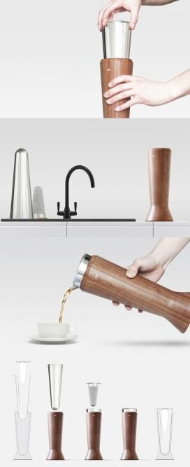 Apolo茶壶设计-由三部分组成,一个支架(和把手),茶罐和过滤器组成