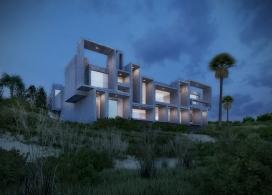 视觉艺术家保罗再现鲁道夫米拉姆住宅房子-在佛罗里达州,根据保罗・鲁道夫基金会设计,内壁采用光滑铸砂色的混凝土块为材料,不但节约成本还环保
