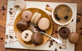 高清晰咖啡味炫彩马卡龙饼干食品壁纸下载