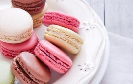 高清晰粉红马卡龙饼干食品壁纸下载