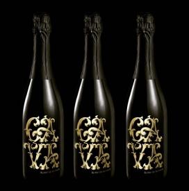 最新限量版香槟品牌酒瓶包装设计-漂亮质感金色的手绘草图抽象图案花纹