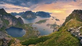 俯拍挪威罗弗敦海峡岛屿壁纸