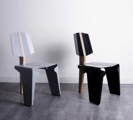 Kobuz-复古的协调与未来主义美学的椅子-线性外观的铝合金边,铝和山毛榉材料