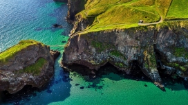 高清晰海峡岛屿礁石壁纸