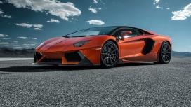 高清晰橙色埃文塔多LP-700跑车侧面壁纸下载