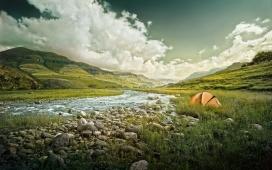 绿色露营的帐篷